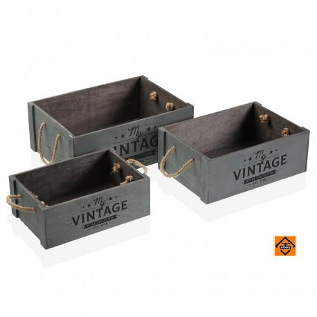 set cajas de madera vintage